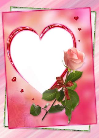 heart frame with rose flower collage photo