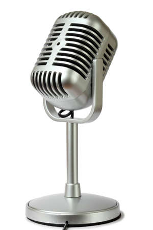 talent show: plastic studio microphone metallic color on pedestal, side view, isolated on white
