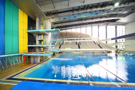 olympic sports: Swimming pool at preparation competitions