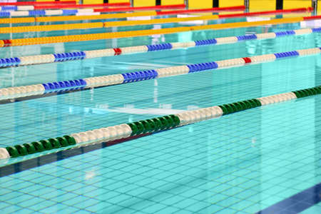 swimming competition: Lane are limited floats in  swimming pool