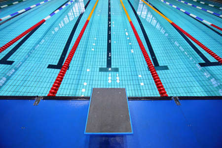 swimming race: In center one platform for  start and lane of swimming pool