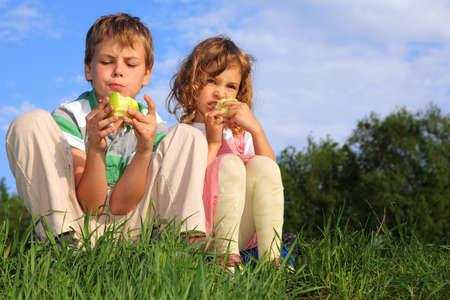frutas divertidas: Dos hermosos hijos se sientan en la hierba, contra el cielo azul y comer manzanas. Foto de archivo