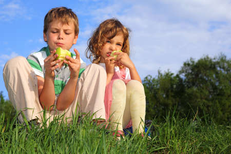 Two lovely children sit on a grass, against the blue sky and eat apples. Stock Photo