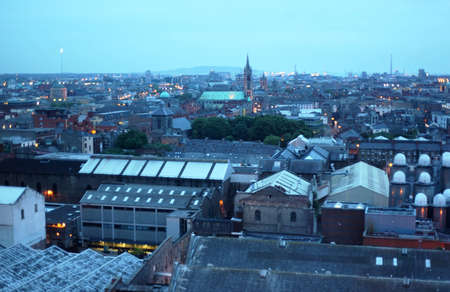 Dublin panorama of tiled roofs in evening, Ireland. many rooftops