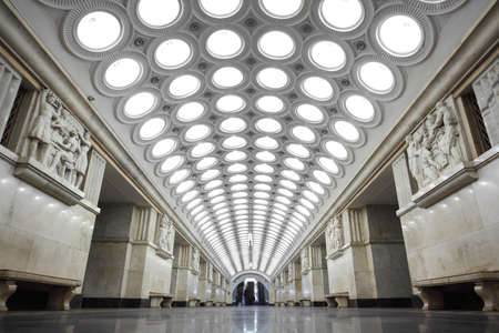 railroad station: MOSCOW - FEBRUARY 2: national architecture monument - metro station Elektrozavodskaya, view from below, 2 february 2010 in Moscow, Russia