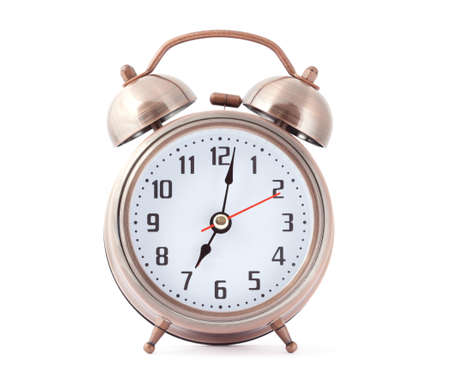 Metal alarm clock with red second hand. Stock Photo - 12509695