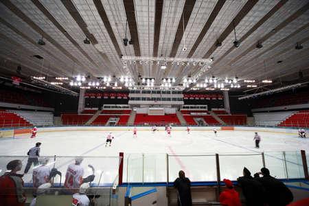 rink: MOSCOW FEBRUARY 20: Hockey match Spartak-Severstal on ice fild in sports palace Sokolniki februari 20, 2010 in Moscow, Russia