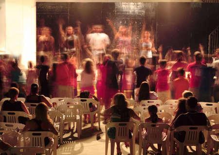 mandatoriccio: In evening, in courtyard of sanatorium people watching the concert. hot summer