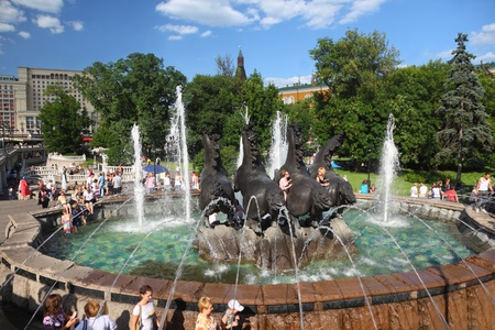 Horses Seasons fountain on Manejnaya square in Moscow at summer Stock Photo - 18171565