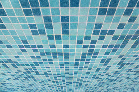 mosaic floor: bath tiled texture with blue squares, prospect viewpoint