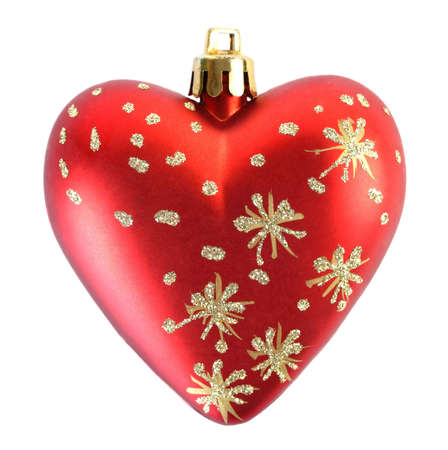 Close-up view of one red Christmas tree heart isolated on white photo