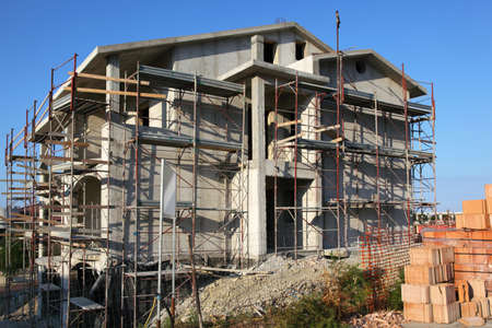 mandatoriccio: Ñonstruction for building of new large three-storeyed cottage is in little resort town Editorial