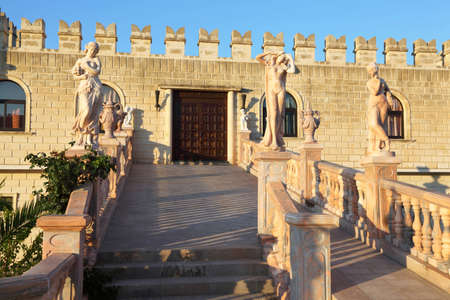 conducts: Wide stair with ancient statues and sculptured rails, which conducts in  palace in  day-time