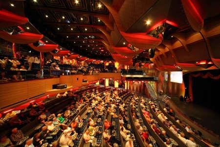 theater audience: PERSIAN GULF - APRIL 14: big illuminated hall in Costa Deliziosa - the newest Costa cruise ship, 14 April 2010 in Persian Gulf. Costa Cruises - bigest cruise company in Europe.