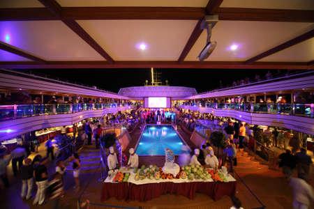 PERSIAN GULF - APRIL 14: in the deck of Costa Deliziosa - the newest Costa cruise ship, 14 April 2010 in Persian Gulf. Costa Cruises - bigest cruise company in Europe.