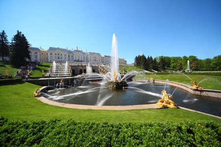 Fountains Samson and  Lion, of Petergof, Saint Petersburg, Russia