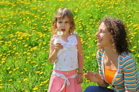 recoger: Madre juega con la chica de la que el diente de león y el aliento de la mosca de paracaídas que Foto de archivo