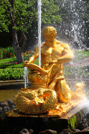 Fountains is Orange or Triton, tearing chaps marine monster of Petergof, Saint Petersburg, Russia