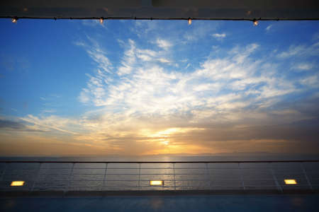 beautiful view from deck of cruise ship on evening. sunset. photo