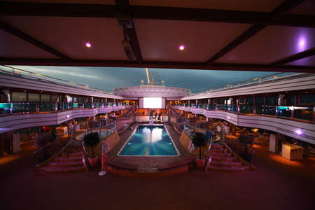 PERSIAN GULF - APRIL 14: Costa Deliziosa - the newest cruise ship,  April 14, 2010 in Persian Gulf. By year's end, it is expected that nearly 18 million passengers will have cruised.