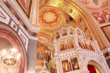 A side view of arch over the Altar inside Cathedral of Christ the Saviour in Moscow, Russia