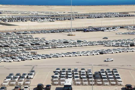 persian gulf: PERSIAN GULF - APRIL 15  Cars in Abu Dhabi Port, 15 April 2010  People here don