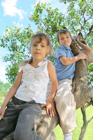 underneath: Two children sit on  thick barrel of lilac Stock Photo