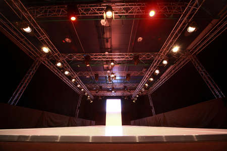 Design of versatile illumination of  podium before  beginning of fashionable display