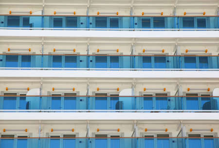 Exterior at rooms of multistory liner, balcony on cruise ship