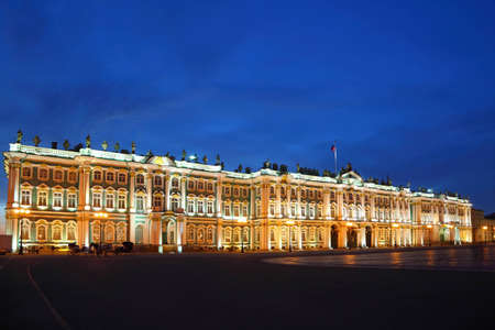 hermitage: Palace Square, Hermitage museum in evening. Saint-Petersburg, Russia Editorial