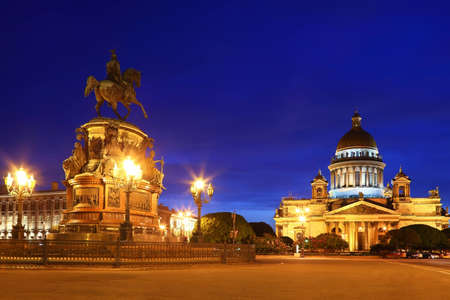 st nicholas cathedral: Monument to Emperor Nicholas I and St. Isaacs Cathedral  (Saint-Petersburg)