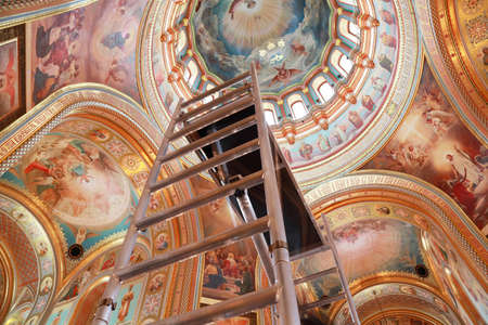 Staircase rising to ceiling of dome inside Cathedral of Christ the Saviour in Moscow, Russia