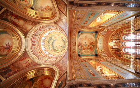 Pictured ceiling near balcony inside Cathedral of Christ the Saviour in Moscow, Russia