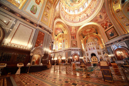 Big hall near Altar inside Cathedral of Christ the Saviour in Moscow, Russia