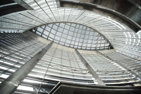 glass ceiling: glass ceiling in public building with metal columns, abstract background Editorial