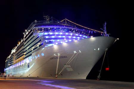 DUBAI - APRIL 17: big modern cruise liner Costa Deliziosa - the newest Costa cruise ship, 17 April 2010 in Dubai, UAE. Costa Cruises - the largest European cruise operator. Editorial