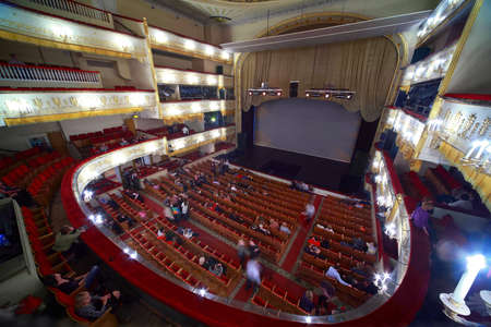 mummery: MOSCOW - MARCH 7: People abandon hall, after completion of operetta in Moscow Theater of Operetta on March 7, 2010 in Moscow , Russia. Moscow Operetta Theater has been created in beginning of XX-th century. Editorial