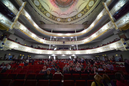 mummery: MOSCOW - MARCH 7: Audience fill  hall and balconies, expecting operetta Graph Monte Cristo at Moscow Operetta Theater on March 7, 2010 in Moscow , Russia. Moscow Operetta Theater has been created in beginning of XX-th century.