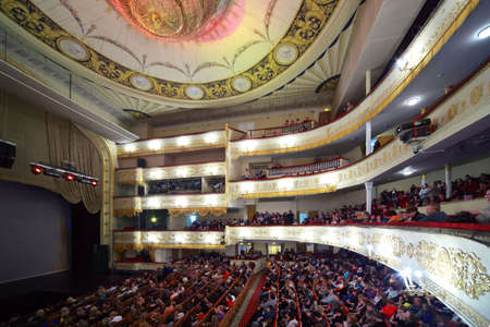 monte cristo: MOSCOW - MARCH 7: People sit in hall and on balcony, expecting operetta Graph Monte Cristo at Moscow Operetta Theater on March 7, 2010 in Moscow , Russia. Moscow Operetta Theater has been created in beginning of XX-th century.