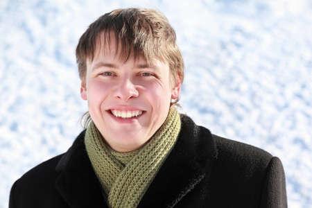 overcoat: Portrait of student is in winter overcoat