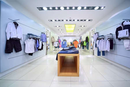 shop interior: Comfortable stylish clothes are for sale in  shop