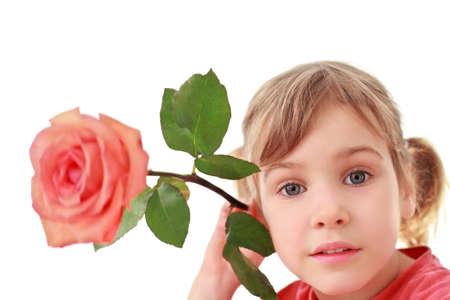 Girl holds  large rose near an ear, focus on face photo