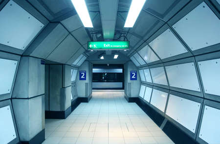 tube station: corridor in the metro. wagon train arrived at the subway platform