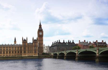 european parliament: Westminster Bridge with Big Ben clock tower in London. Big Ben is one of Londons best-known landmarks. Editorial