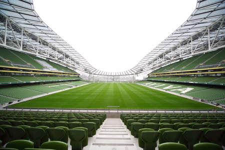 football pitch: DUBLIN - JUNE 10: Empty stadium Aviva June 10, 2010 in Dublin. Stadium Aviva after repair Editorial