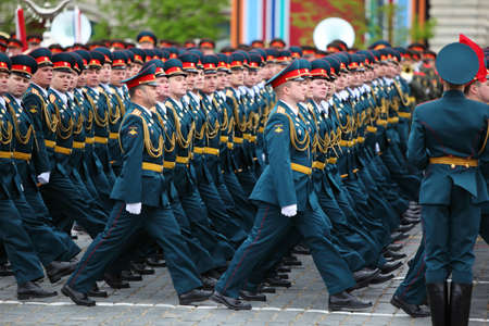 may 9: MOSCOW - MAY 6: Officer soldiers march on rehearsal of parade in honor of Great Patriotic War victory on Red Square on May 6, 2010 in Moscow, Russia