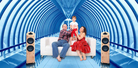 family with little girl and home cinema in bridge way interior collage photo