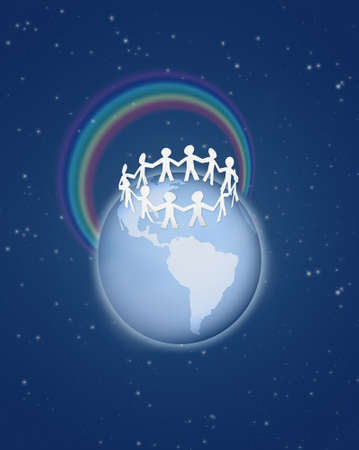 roughly: Roughly cut out paper people circle on globe with rainbow on blue sky collage Stock Photo