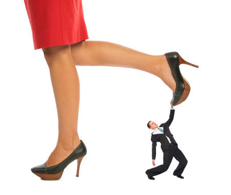 predominant: businessman under Female legs collage
