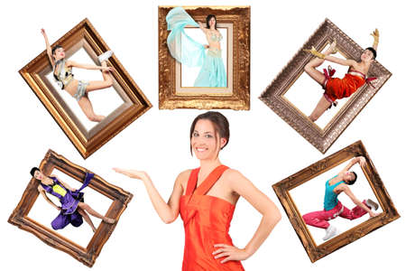 beauty girl in red dress showes multi task many women in picture frames collage photo